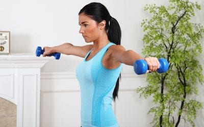 woman exercising and lifting weights